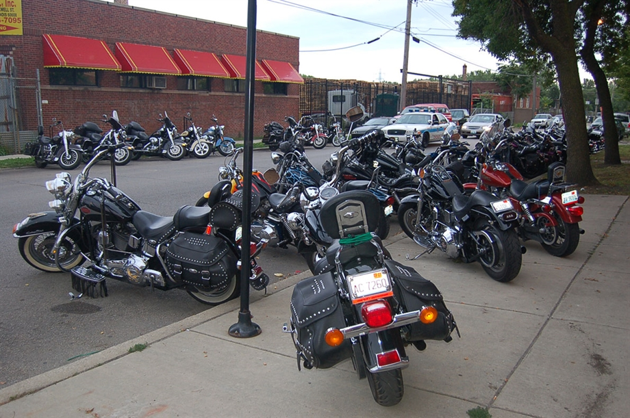 Home sweet home. Out the front of the Outlaw clubhouse in Chicago / Courtesy of Big Pete